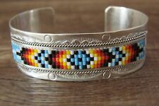 Navajo Sterling Silver Beaded Band Bracelet - Hallmarked