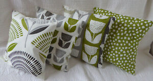 """4 Cushion Covers 14"""" inch Lime Green Grey Mixed Scandi Style Handmade New 35cm"""