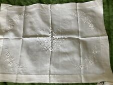 More details for antique hand embroidered irish linen butlers try cloth with monogram florals