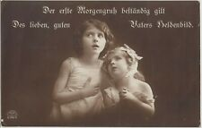 WW1 GERMAN GIRLS Children Thoughts Fathers Image Patriotic PC Berlin 1915