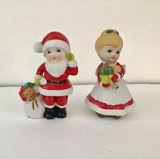 "Homco 5401 Mr. Mrs. Santa Claus Children Figurines 5.5"" Christmas holiday decor"