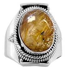 Golden Rutile 925 Sterling Silver Ring Jewelry s.6.5 4496R