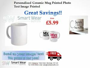 Personalised Ceramic Mug Printed Photo Text Image Printed (11 Colours Available)