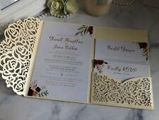 50- Laser cut Roses Wedding Invitations Pocket Fold Invites Pocketfold cards