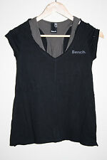 Bench. Womans Shirt XS Black Fashion Designer Short Sleeve Sport Workout Cotton