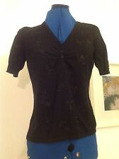 Laura Ashley black embroidered buttoned top size 12