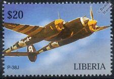 USAAF Lockheed P-38 / P38J LIGHTNING D-Day Livery Aircraft Stamp (Liberia)