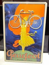 """PEUGEOT BICYCLES, PARIS, FRANCE:  EMBOSSED METAL/ STEEL ADVERTISING SIGN 12""""X 8"""""""