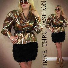 Vtg 80s Baroque Renaissance Metallic Lame Gold Ultra Drape Blouson Dress TOP  M