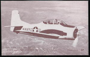 US NAVY T-28B TRAINER Aircraft Airplane Vintage Penny Arcade Exhibit Card #37