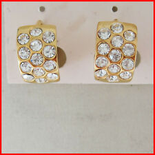 "NEW TOP 18K YELLOW GOLD SOLID GP OVERLAY FILLED WITH BRASS HOOP 0.47"" CZ EARRING"