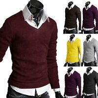 Mens V Neck Pullover Casual Knitted Sweater Sweatshirt Winter Slim Jumper Tops