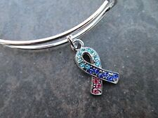 Thyroid Cancer Awareness Adjustable Bangle Bracelet with Rhinestone Ribbon