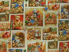 Fabri-Quilt  100% cotton Patchwork, Quilting FQ/Metre BEAR HUGS Bears in Squares