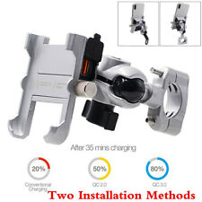 360° QC3.0 Fast USB Charger Motorcycle Waterproof Phone Holder Bracket Mount CNC
