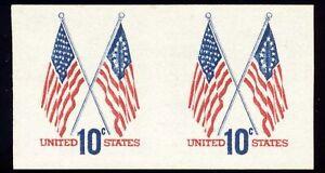 US 1519a 10¢ 1973 Flag Coil Issue 50-Star & 13-Star Flags imperf coil pair VF NH