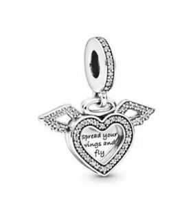 Authentic Pandora 798485C01 Silver 925 ALE Angel Wings Dangle Charm