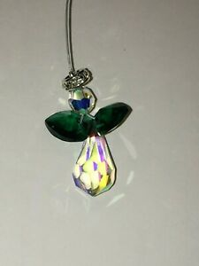 Christmas Angel handmade ornament, made with Swarovski Crystal, emerald green