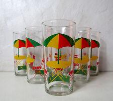 6 verres transat et parasol Vintage