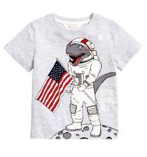H&M size 6-8 Y super soft cozy T-shirt gray  dinosaur