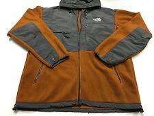 THE NORTH FACE Orange - Gray Denali Vented Polartec Fleece Hooded Jacket Mens XL