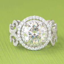 2.30Ct Off White Round Cut Real Moissanite Engagement Ring 925 Sterling Silver
