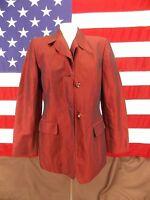 Jones New York Jacket Blazer Long Sleeve Lined Shiny Deep Red Women's Size 8