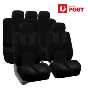 Car Seat Covers Front & Rear Full Set Black For 5-seats Car SUV Truck Universal