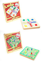Prof Warbles Retro Traditional Wooden Board Travel Games Ludo / Snakes & Ladders