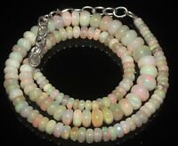 """Ethiopian Welo Opal Beads 4 to 8 mm 16"""" +1"""" 925 silver chain Necklace"""
