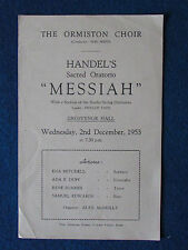 Grosvenor Hall - Opera Programme - Ormiston Choir- 2/12/1953 - Handel's  Messiah