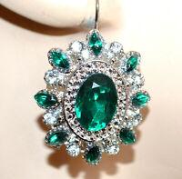 ORECCHINI donna argento platino cristalli verdi strass pendenti a lobo CC98