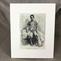 1890 BENIN Young Fetish man of Lake Jonanga Antique Original Print