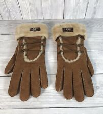 UGG Australia Womens Brown Suede Winter Gloves Mittens Size Large