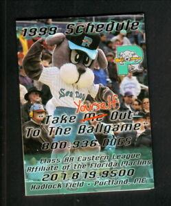 Portland Sea Dogs--1999 Pocket Schedule--Coke--Marlins Affiliate