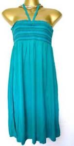 Monsoon dress jersey summer sun beach turquoise multiway straps S M L NEW blue