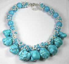 Statement Turquoise Bold Chunky Necklace with Pearls Mother of Bride Wedding