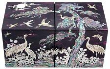 mother of pearl trinket jewelry box jewel case organizer pine & crane design#217