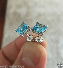 Mens Ladies 14K Gold Finish 1/25 ct. Lab Diamond Screw Back Square Stud Earrings