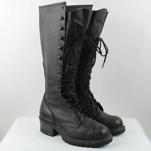 Dr. Martens Women's Black Leather Mid Calf Lace Up Boots Size 8