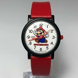 Vintage Lorus Mens V511-6A00 Super Mario Bros Print Quartz Analog Wristwatch