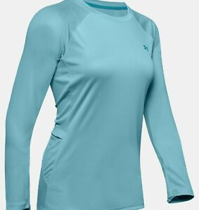 *NWT* UNDER ARMOUR SUN GEAR UPF 40 BLUE HAZE FITTED BACK POCKET TOP ~ L