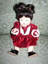 "Vintage, 12"" Composition Baby Doll in Burgundy Velvet Dress"