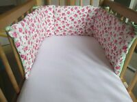 Cushi cots swing crib bumper girls Pink rose with fresh green and white dot new