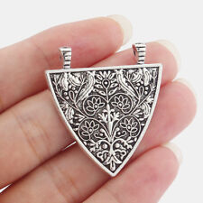 5 Antique Silver Triangle Shield Pendant Nordic Viking Flower Tree Charms Beads
