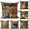 18inch Cute Book Cat Party Cushion linen Throw Pillowcase Home Sofa Decor