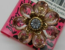 Betsey Johnson Iconic Spring Violet / Purple Flower Stretch Goldtone Ring $45