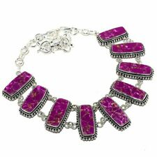 "Copper Purple Turquoise Gemstone Handmade Ethnic Jewelry Necklace 18"""