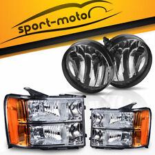 For 07-14 GMC Sierra Black Housing Headlight W/ Reflector + Fog Light Assembly