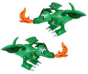 """Large Fire Breathing Green Inflatable 30"""" Dragons (2 Pack) Flying, Hanging"""